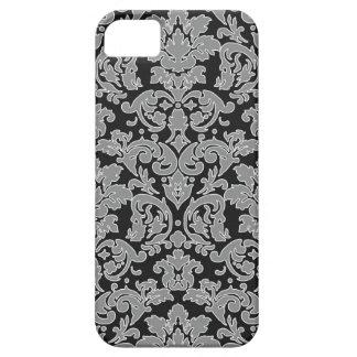 grey outlined damask on black pattern iPhone SE/5/5s case