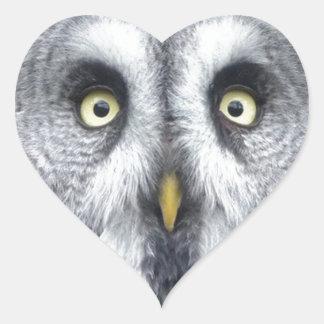 """Grey Owl"" Heart Sticker"