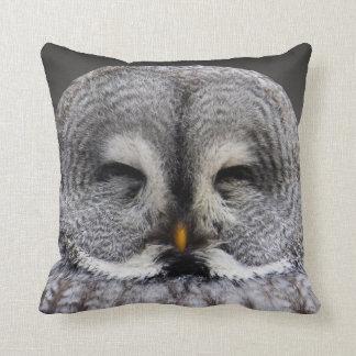 """Grey Owl on Black Throw Pillow 16"""" x 16"""""""