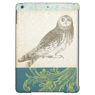 Grey Owl on Pattern Background iPad Air Cover