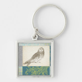 Grey Owl on Pattern Background Silver-Colored Square Keychain