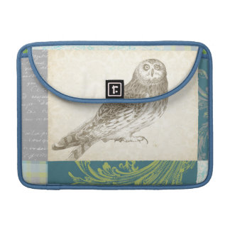 Grey Owl on Pattern Background Sleeves For MacBooks