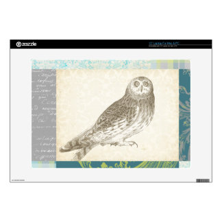 "Grey Owl on Pattern Background Skin For 15"" Laptop"
