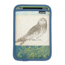 Grey Owl on Pattern Background Sleeve For iPad Mini