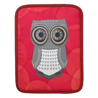 Grey Owl Red Background iPad Sleeve