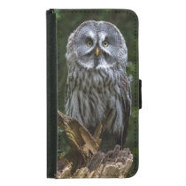 Grey owl wallet phone case for samsung galaxy s5