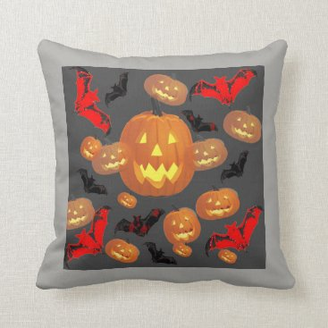 Halloween Themed GREY  P[ATTERNED HALLOWEEN JACK O'LANTERNS & BATS THROW PILLOW