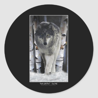 GREY PACK WOLF Wildlife Supporter Artwork Classic Round Sticker
