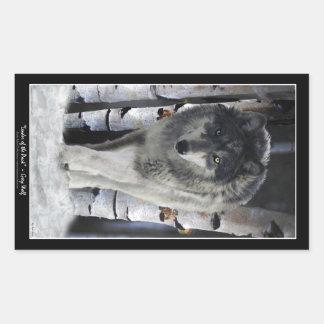 GREY PACK WOLF Wildlife Supporter Artwork Rectangular Sticker