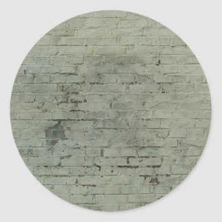 Grey Painted Brick Wall Texture Background Classic Round Sticker