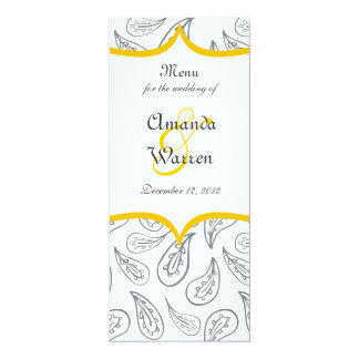 grey paisley pattern & yellow label on white menu card