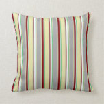 [ Thumbnail: Grey, Pale Goldenrod, Green, White & Maroon Lines Throw Pillow ]