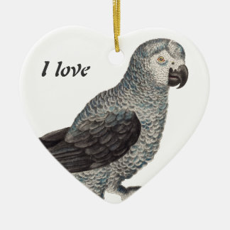 Grey Parrot - Psittacus erithacus Double-Sided Heart Ceramic Christmas Ornament