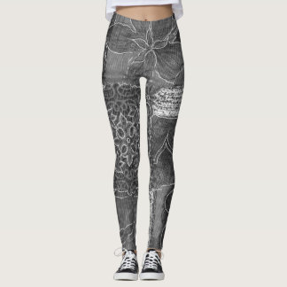 Grey Patchwork Forest Leggings