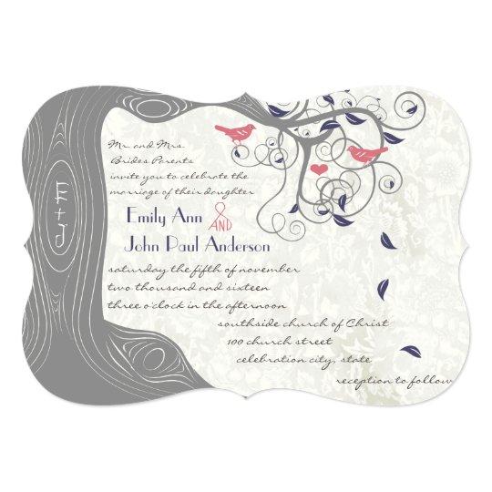 Navy And Peach Wedding Invitations: Grey Peach And Navy Love Bird Wedding Invitations