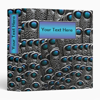 Grey Peacock Feathers Blue Nameplate 3 Ring Binder