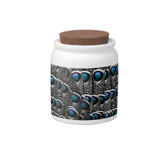 Grey Peacock Feathers Candy Jar