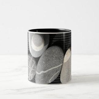 Grey pebbles Two-Tone coffee mug