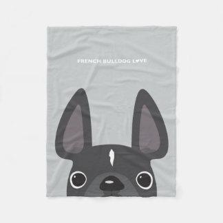 Grey Peeking French Bulldog Fleece Blanket