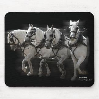 Grey Percheron Draft Horses - Four Abreast Mouse Pad