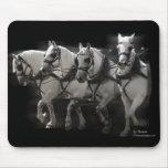 Grey Percheron Draft Horses - Four Abreast Mousepad
