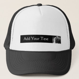 Grey Persian Cat on Black Border Trucker Hat