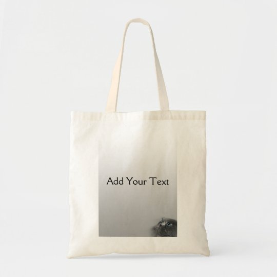 Grey Persian Cat with Blue Eyes on Grey Tote Bag