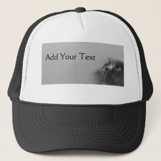 Grey Persian Cat with Blue Eyes on Grey Trucker Hat