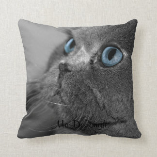 Grey Persian Cat with Blue Eyes Throw Pillows