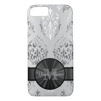 Grey personalized monogram damask pattern iPhone 7 case