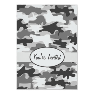 Grey Pewter Camo Camouflage Party Event Card
