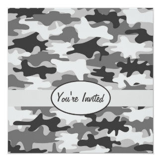 Grey Pewter Camo Camouflage Party Event Square Invitation