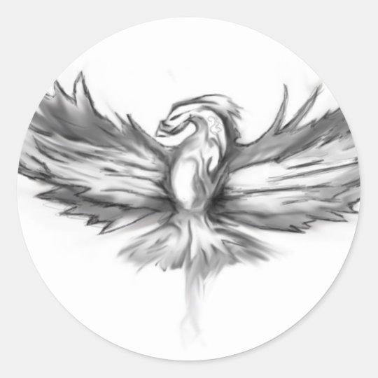 Grey Phoenix Rising Classic Round Sticker