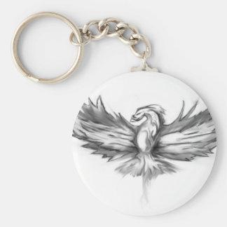 Grey Phoenix Rising Keychain