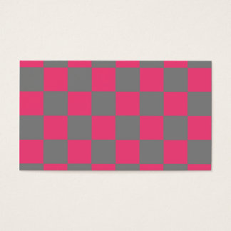 Grey Pink Checkerboard Checkered Business Cards
