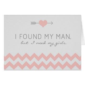 Grey Pink Chevron Bridesmaid Request Card