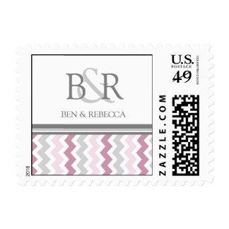 Grey Pink Chevron Monogram Wedding Stamps
