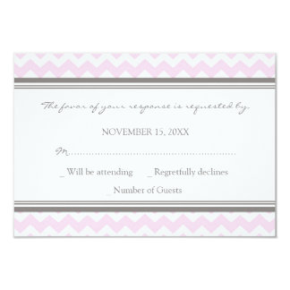 Grey Pink Chevron RSVP Wedding Card
