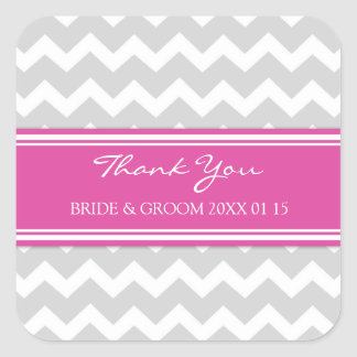 Grey Pink Chevron Thank You Wedding Favor Tags Square Sticker
