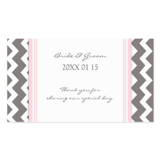 Grey Pink Chevron Wedding Favor Tags Double-Sided Standard Business Cards (Pack Of 100)