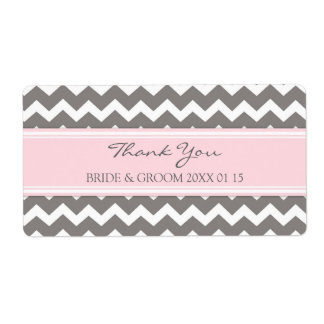 Grey Pink Chevron Wedding Labels