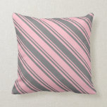 [ Thumbnail: Grey & Pink Colored Lines Throw Pillow ]