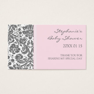 Grey Pink  Damask Baby Shower Favor Tags