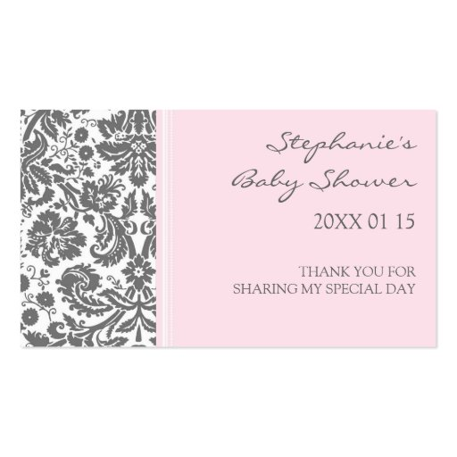 Grey Pink  Damask Baby Shower Favor Tags Business Card Templates