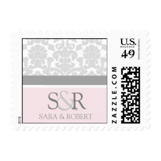 Grey Pink Damask Monogram Wedding Stamps