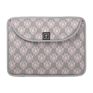 Grey pink damask noble pattern sleeve for MacBooks