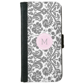 Grey Pink Damask Pattern Monogram Wallet Phone Case For iPhone 6/6s