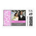 Grey Pink Damask Thank You Wedding Stamps