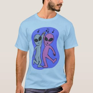 grey pink dancing aliens blue by Wendy C Allen T-Shirt