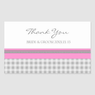 Grey Pink Gingham Thank You Wedding Favor Tags